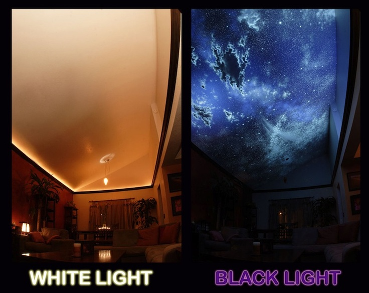 White light vs black light ceiling mural created with for Black light mural