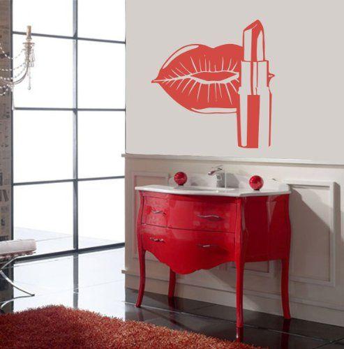 Housewares vinyl decal cosmetics lips make up beauty salon home wall art decor removable stylish - Stickers salon design ...