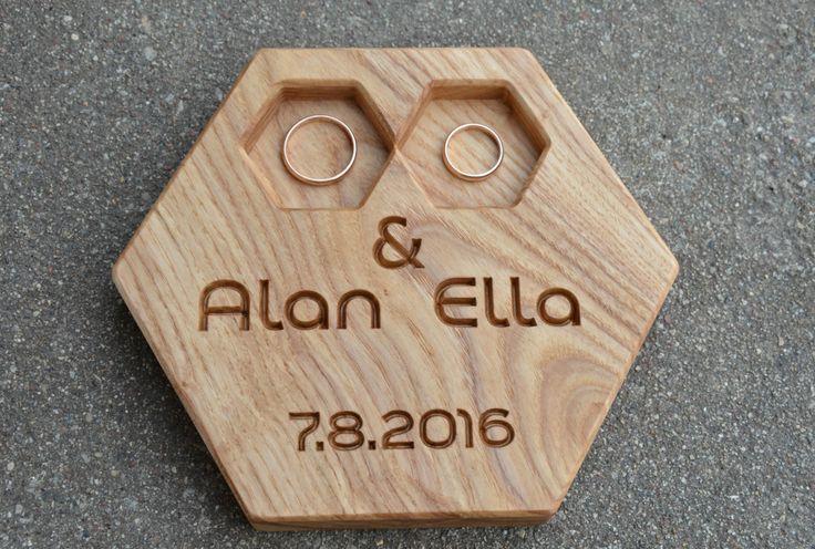 Personalized Modern Wood Ring Box Hexagon Wedding Ring Bearer Pillow Rustic Wedding Ring Holder Wood Ring Bearer Rustic Wedding Decor OOAK by KlikKlakBlocks on Etsy