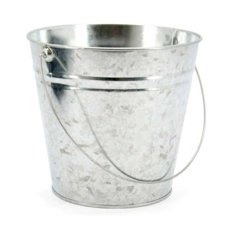 Extra Large Zinc Bucket 23tdx16bdx20cmH - Silver (99NZTIN1)   Oceans Floral -Tinware is very versatile, whether you want troughs for hampers or corporate gifts, or buckets and tall tins for flowers; our v-shape tins with ear handles are great for displaying flowers plus our plastic pots and vases pop inside nicely for a water tight option. Our smaller tins work great for gifts, posies, wedding favours, children's parties and baby showers.