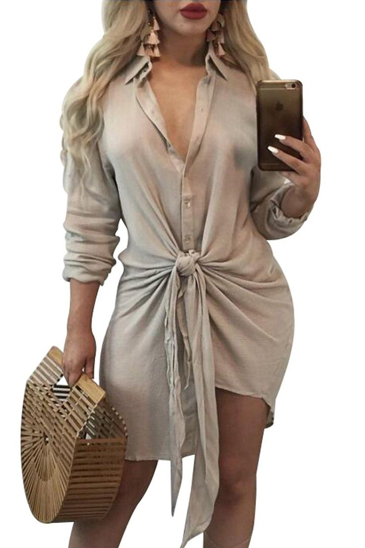Apricot Knot Tie Accent Button Down Long Sleeve Shirtdress modeshe.com