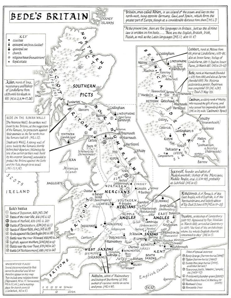 Maps of Anglo-Saxon Britain | This Map is based upon Bede's Ecclesiastical History