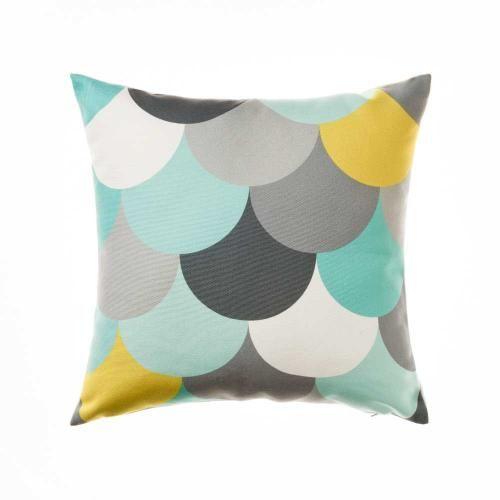 Beautiful multi coloured lotus leaf patterns adorn the Modern cushions from Mercer + Reid ...