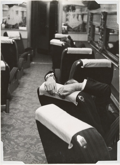 Robert Frank - [Man Resting Aboard the Congressional Limited], 1955