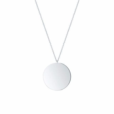 Les Plaisirs de Birks Large Silver Disk Pendant. A modern essential, this large round disk pendant is made of silver.
