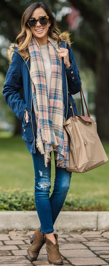 Plaid Scarf On Navy Jacket Fall Inspo by Sequins u0026 Things | Outfits | Pinterest | Design och ...