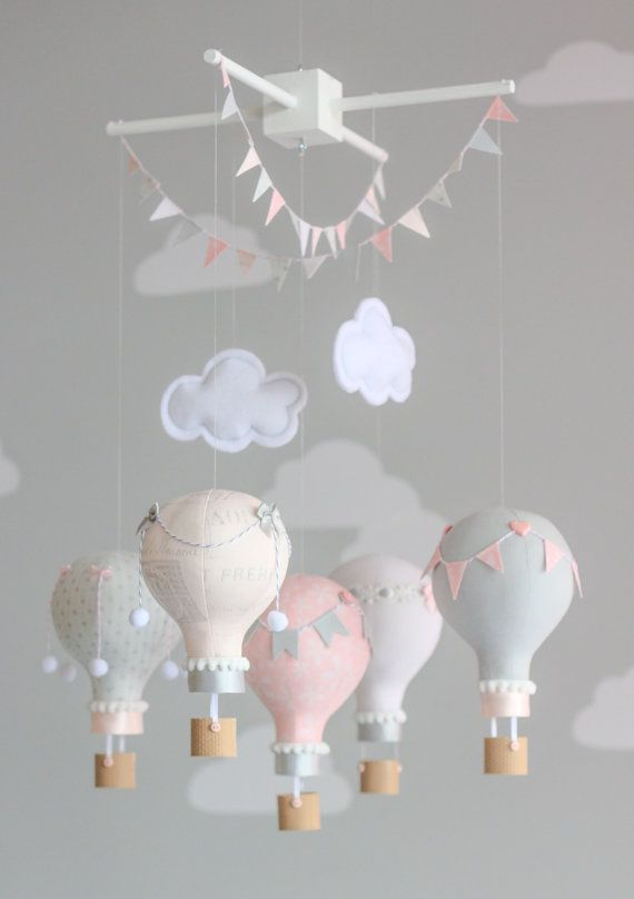 Hot Air Balloon Baby Mobile, Pink and Grey, Nursery Decor, i52