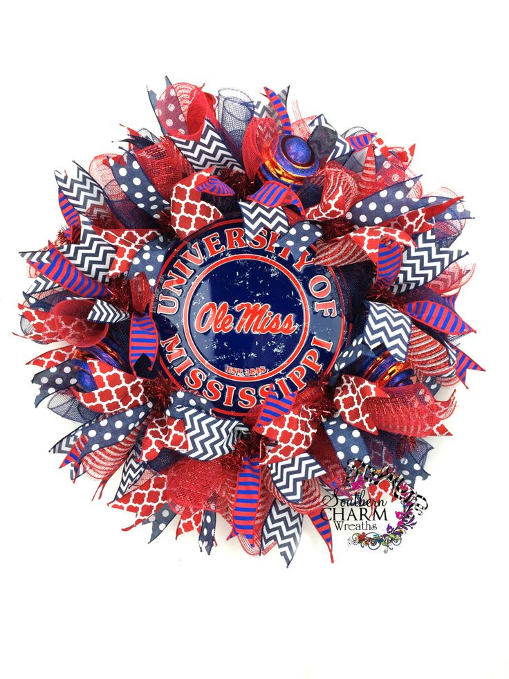 Ole Miss Wreath -University of Mississippi Wreath -Ole Miss Tailgate Decor -Ole Miss Door Wreath -College Wreaths by SouthernCharmWreaths $87.00 USD