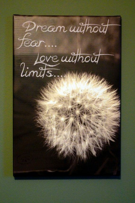 Dandelion Canvas with inspiring quote dream by FireFliesInk, $27.00