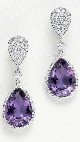 A Pair of Gorgeous Amethyst and Diamond Ear Pendants