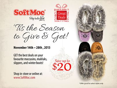 Get the best deals on your favourite moccasins, mukluks, slippers, and winter boots! Shop in-store or online at www.softmoc.com