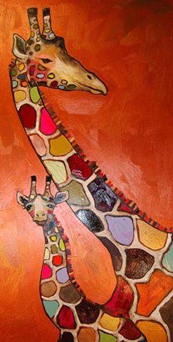 Giraffe Mother and Baby in Copper ~ Eli Halpin
