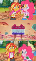 Size: 1366x2304 | Tagged: discovery kids, edit, edited screencap, equestria girls, legend of everfree, meme, pinkie pie, safe, screencap, spoiler:legend of everfree, spongebob squarepants, sponge out of water, sunset sees things, sunset shimmer