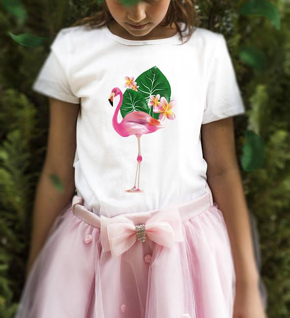 t-shirt bimba tropical flamingo