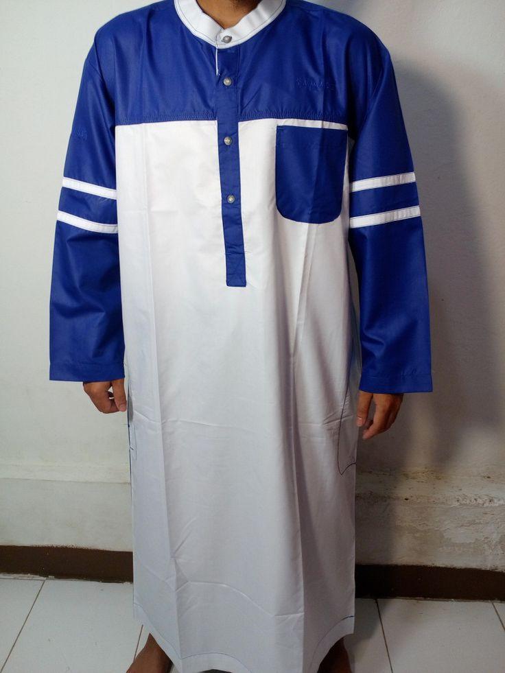 Baju Kurung Laki-Baju Gamis Atas Mata Kaki-Baju Jubah Pria Warna putih biru Lengan Garis-Baju Muslim Samase