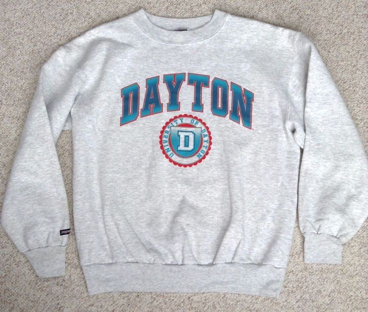 vtg htf UNIVERSITY OF DAYTON CREWNECK SWEATSHIRT Light-Gray&Sparkly-Teal UD Crew #Jansport #DaytonFlyers