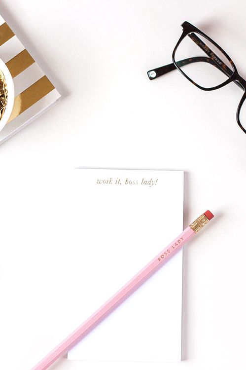 new in the b is for bonnie shop - gold foil boss lady notepads! | part of the 2014 holiday collection | www.bisforbonnieshop.com