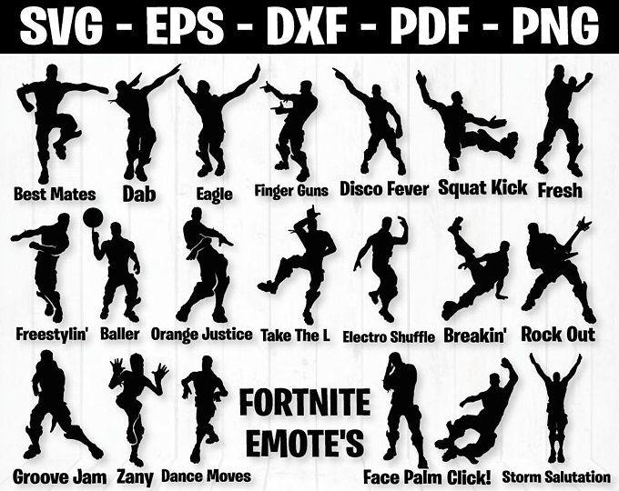 Fortnite Bundle Fortnite Svg Filesfortnite Font Svgfortnite Etsy Dance Silhouette Silhouette Printables Svg