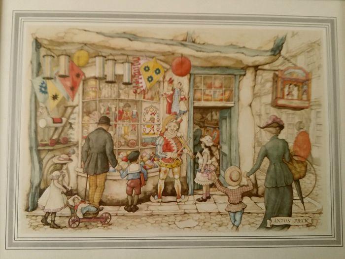 Anton Pieck - Lot van vijf vintage ingekaderde prenten prints in houten lijst…