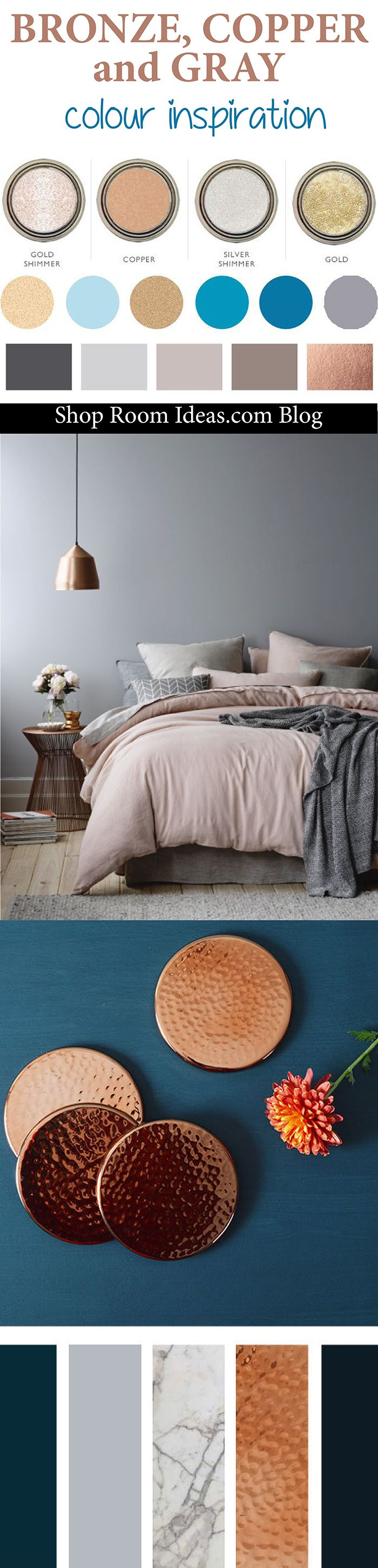 Best Bronze Copper Gray And Navy Blue Colour Palette Inspiration For Bedrooms Living Rooms 400 x 300