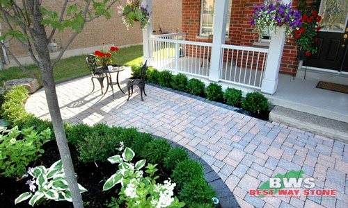 #outdoor #entrance: Best Way Stone > Paver: Adora Antico (Rustic Salmon Mix) / Border: Pathway Antico (Ultra Black) available at our store at 3500 Mavis Rd, Mississauga, ON L5C 1T8