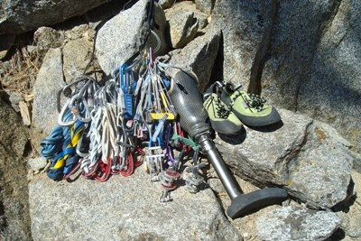 "Gearing up for a day of climbing at Luther Spires in the South Lake Tahoe area. Amputee C.J. Howard's ""rack"" includes a self-designed customized climbing prosthetic that was manufactured using direct metal laser sintering (DMLS) technology."