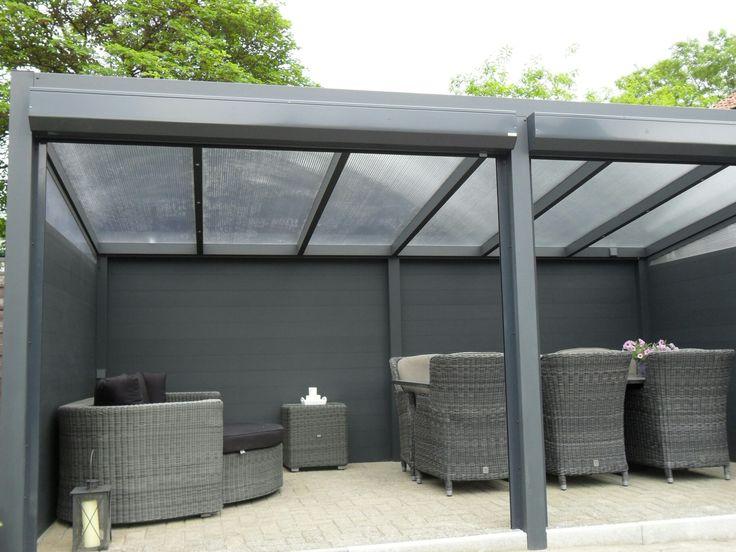 Terrasoverkapping veranda overkapping tuinkamer afsluitbaar met rolluiken zonwering - Modern prieel aluminium ...