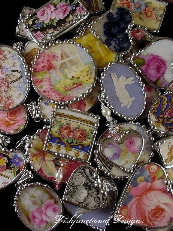 Jewelry made from broken vintage china by Dishfunctional Designs. Soldered jewelry.