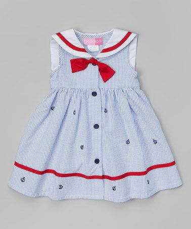 Another great find on #zulily! Light Blue Seersucker Nautical Dress - Infant, Toddler & Girls by Good Lad #zulilyfinds