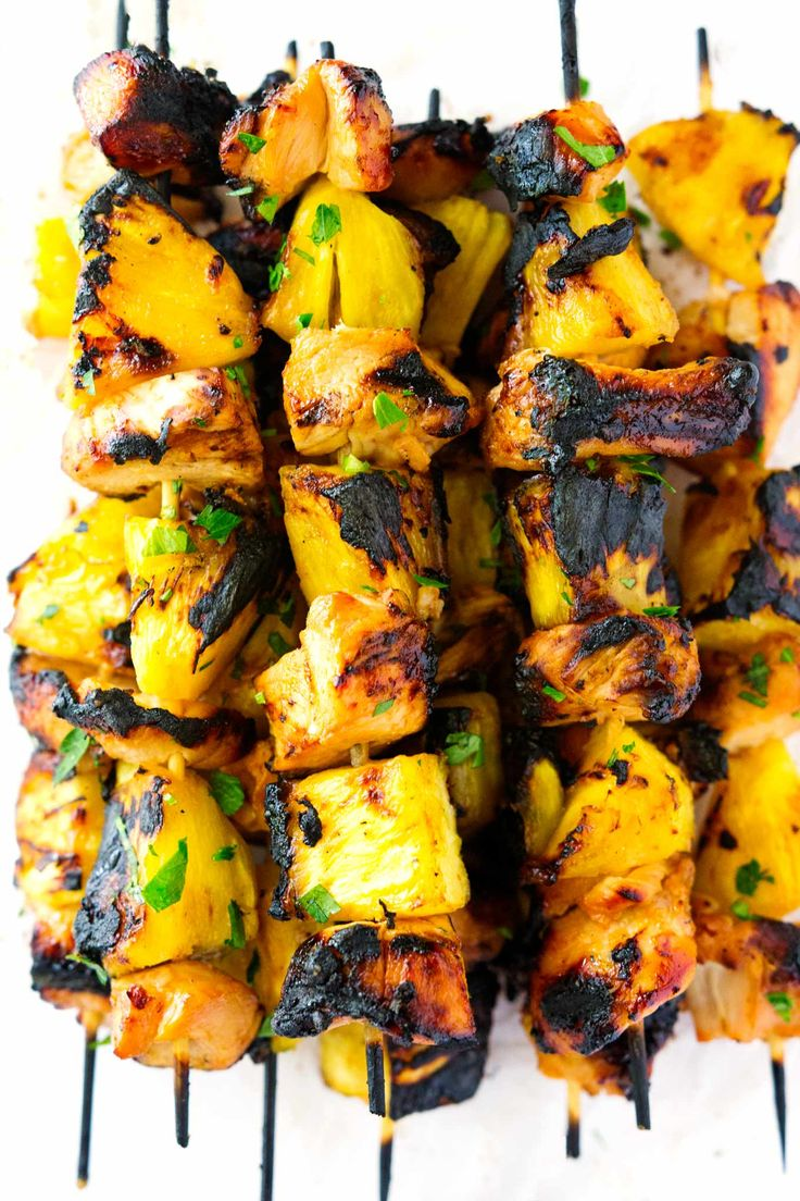 These Hawaiian Chicken and Pineapple Kabobs take chicken and pineapple to the next level. The Hawaiian marinade on the chicken and the brown sugar on the grilled pineapple are a surefire way to make a delicious meal in less than 10ish minutes cooking time!