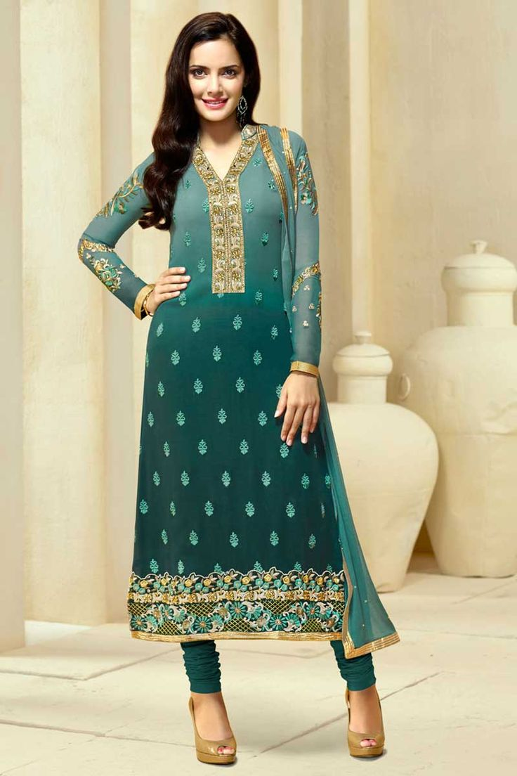 Get Latest Dark Green #Georgette Churidar #Suit with Chiffon Dupatta #AndaazFashion  http://www.andaazfashion.com/salwar-kameez/churidar-suits/dark-green-georgette-churidar-suit-with-chiffon-dupatta-dmv13800.html