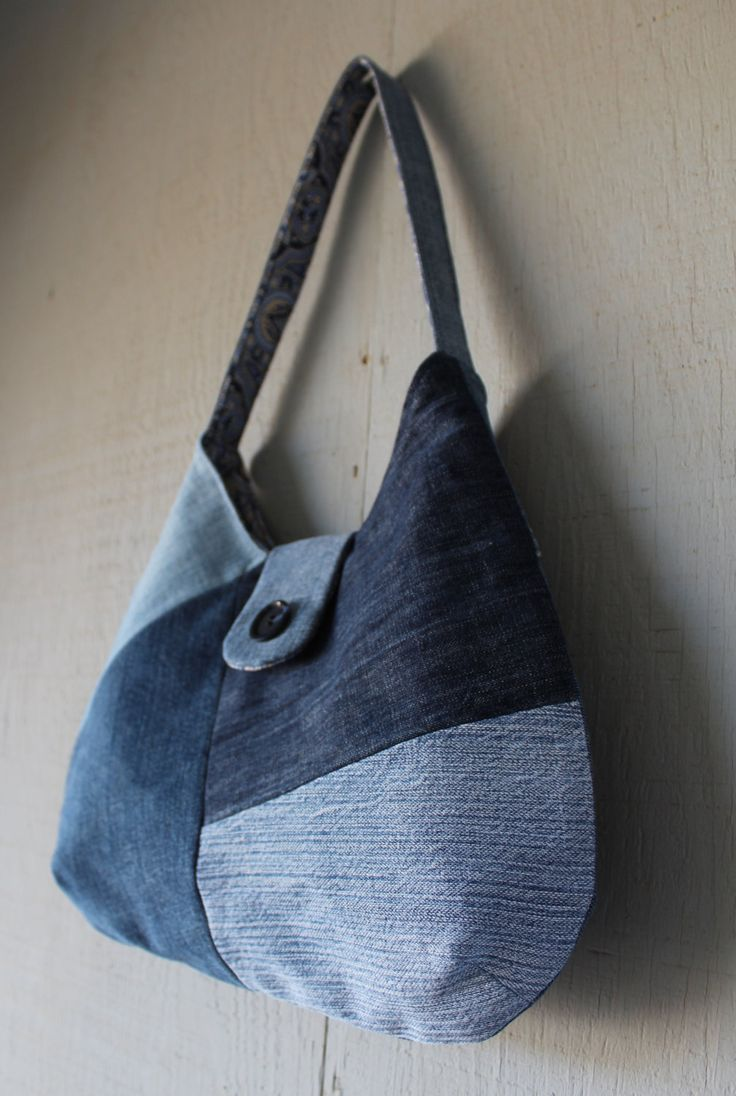 Geometric Patch Denim Handbag Lined with Victorian Themed Canvas, Front Magnetic Snap Closure, Back Zipper Pocket and Two Interior Pockets by AllintheJeans on Etsy