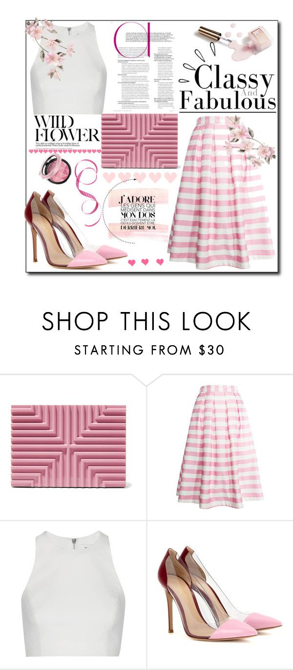 """Pink"" by israa-rz ❤ liked on Polyvore featuring Lee Savage, re:named, Elizabeth and James, Gianvito Rossi, Ciaté and Old Navy"