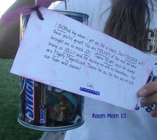 Coach gift - lots of ideas that can be adapted for coaches, teammates, etc @ Room Mom 101: Teacher Gifts