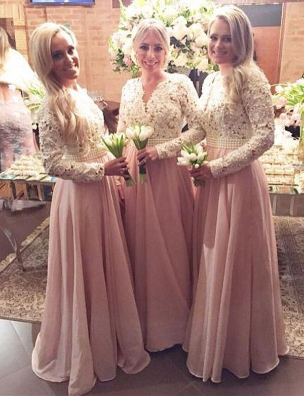 Bridesmaid Dress,Long Sleeves Bridesmaid Dress,Pink Elegant Sheath Bridesmaid Dress,V-Neck Floor Length Bridesmaid Dress,Chiffon Prom Gown