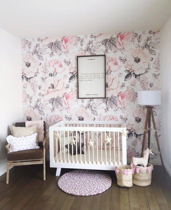 Snowy Rose Wallpaper Wallpaper For Baby Room Kids Room Etsy Nursery Wallpaper Baby Girls Nursery Kids Wallpaper