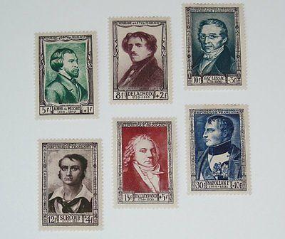 Stamp Pickers France 1951 Portraits Semi-Postal Set Scott #B258-B263 MH $54