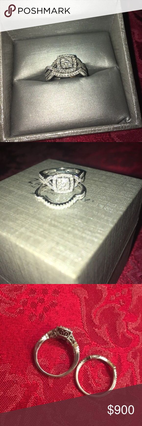 ENGAGEMENT RING & WEDDING BAND SET Size 7, white gold, from Zales, asking $900 or best offer Zales Jewelry Rings