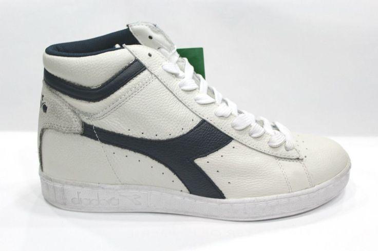 DIADORA Scarpe GAME L HIGH WAXED Shoes Sneakers Alte Unisex White Blue 42