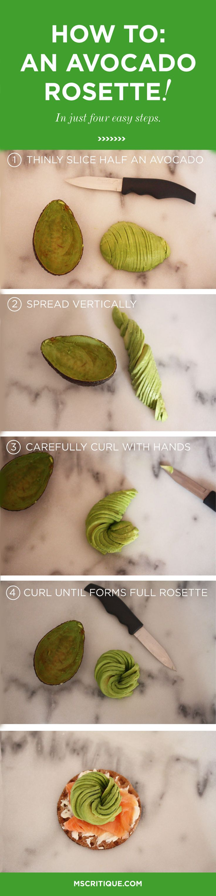 Will never go back to regular avocado again! Make an avocado rosette in 4 steps!: Regular Avocado, Avocado Country, Yummy Garnishing, Chee Plates, Travel Food, Food Garnishing, Beautiful Food And Travel, Cheese Plates, Avocado Rosette