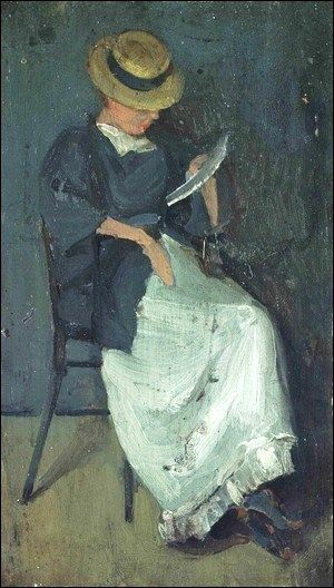 Beatrix Godwin Whistler (1857-1896), née Birnie Philip (Wife of James McNeill Whistler after Edward William Godwin) Woman in straw hat reading a book