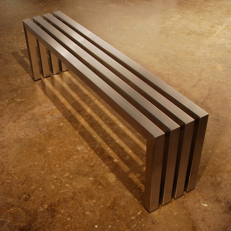 The Linear Bench By Sarabi Studio  Hand Crafted High Grade Stainless Steel  Tubing