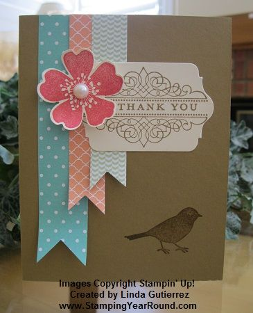 handmade card making photo tutorial ... Morning Meadow swap card ... tips on making even fishtail banners and finding the direction to place the stamped flower into the pansy punch ... kraft base with pastel aqua, orange and rose red ... pretty card ... Stampin' Up!