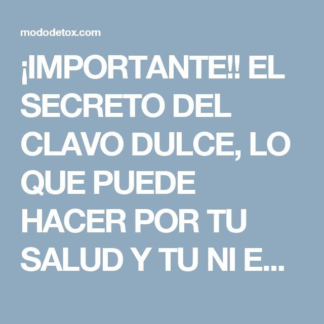 ¡IMPORTANTE!! EL SECRETO DEL CLAVO DULCE, LO QUE PUEDE HACER POR TU SALUD Y TU NI ESTABAS ENTERADO, ES SORPRENDENTE... - MODO DETOX