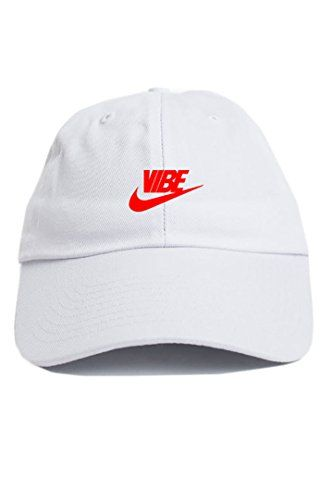 CUSTOM Just Vibe Swoosh White w  Red Dad Hat  e1ad2e263