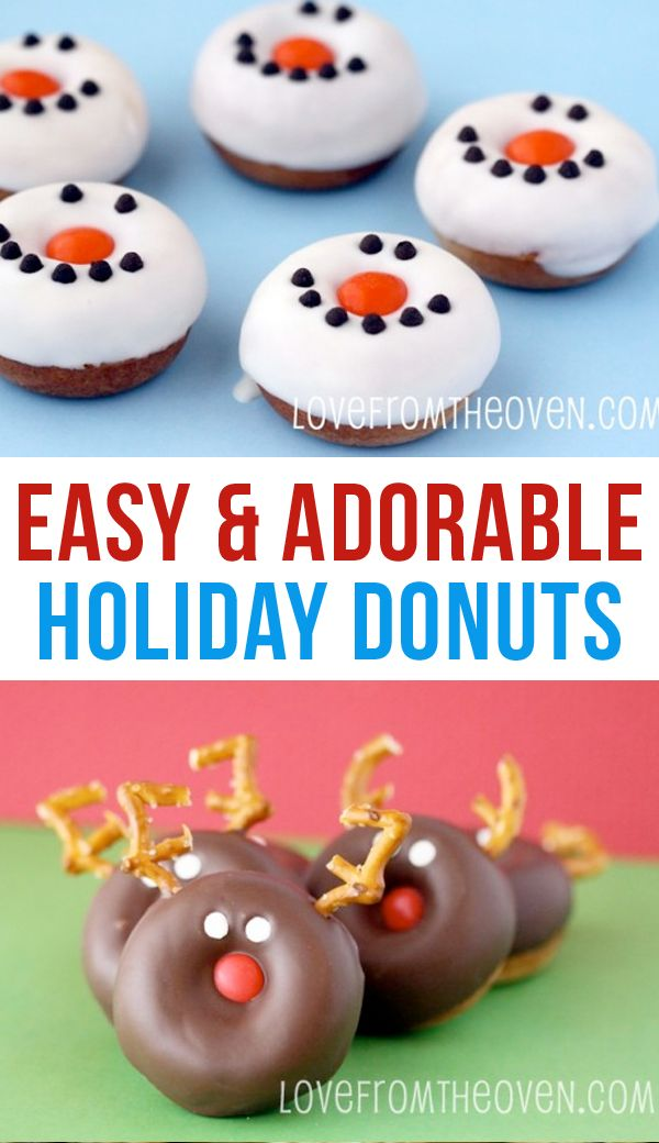 Christmas Donuts! These cute snowman donuts and reindeer donuts are perfect for a Christmas breakfast.