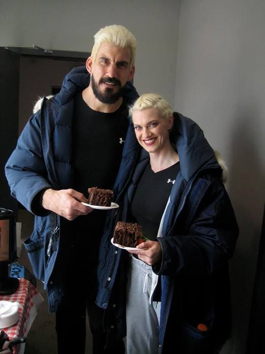"""(Pacific Rim) """"Our final day of filming Pacific Rim. After months of veggies and protein and working out like maniacs, Robert Maillet and I needed the biggest slice of chocolate cake imaginable. You shoulda seen the sugar high that followed."""""""