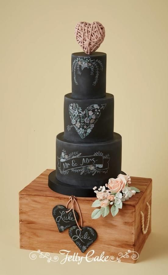 Chalkboard and Wooden Crate Wedding Cake - Cake by JellyCake - Trudy Mitchell