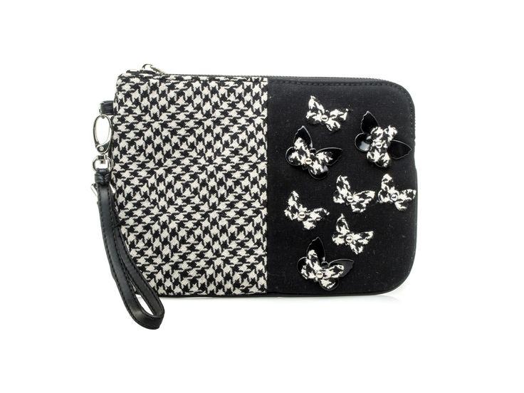 PINKO - Pochette STRINGA applicazioni Vichy e farfalle -Bianco/Nero - Elsa-boutique.it <3 #Pinko