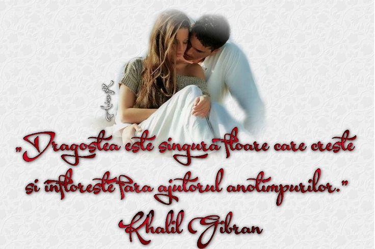 """""""Dragostea este singura floare care creşte şi înfloreşte fără ajutorul anotimpurilor."""" definiţie clasică de Khalil Gibran"""